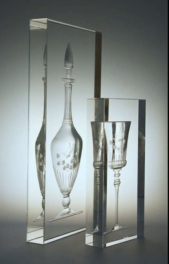 Mirage Wine set - Engraved Glass Sculpture